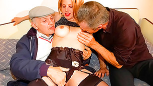 Passionate chick likes when two old men playing around with her tits
