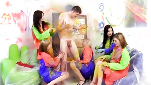 Tuneful perky girls are playing with naughty paint having naughty and perverted fun time