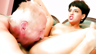 Old guy is sucking on the sweet and tasty wuss of this short haired lass
