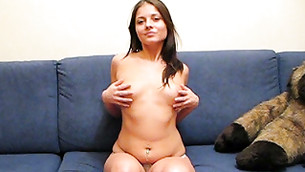 Naughty unashamed girl is showing off her great boobs and covering nipples