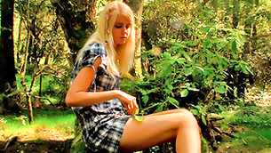 Stalwart fierce crazy ass burning teen cutie babe is sitting alone in wood