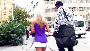 Black messy stud is seducing this sexy ambrosial babe on the street
