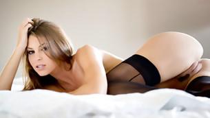 Charming brunette slut demonstrates her undraped honeyed penis