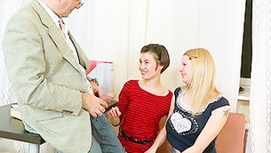 Awful bawdy fellow is demonstrating his enduring donger to two gals
