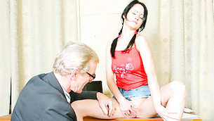 Senior and pitiless fellow is watching on sex addicted dribblet fingering herself