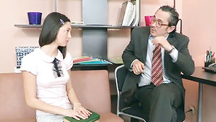 This well-behaved witty girlie is listening attentively to her skillful teacher