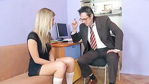 Arousing doxy came to her teacher's office to be taught with his whang