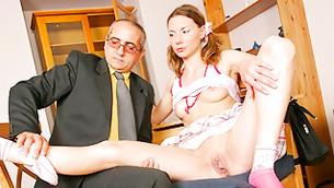 Randy man is taking off pants from doe's wide spread axil lips