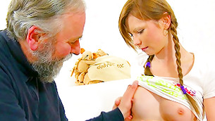 Red haired gracious youth gets her mambos pressed by wicked old man