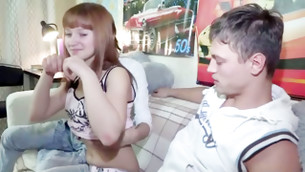 Sinful foxy haired damsel is going to be drilled by two randy fellas