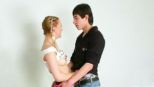 Muscualr and brutal dude is hugging this savor hottie with naked small tits