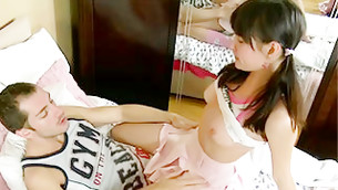 Disgustful teen age lassie is riding a weighty and quarreling phallus of her mister