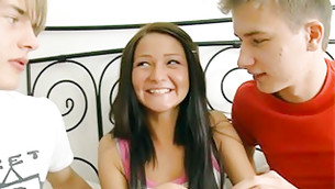 Really delightful teen age hustler is having fun with two playmates