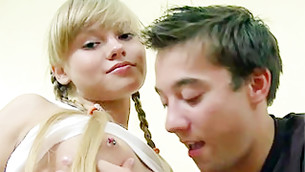 Blonde miniature hustler with pierced teases is about to get hammered