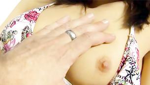 Selfish and torrid girl is presenting her dainty boob with a sturdy bosom